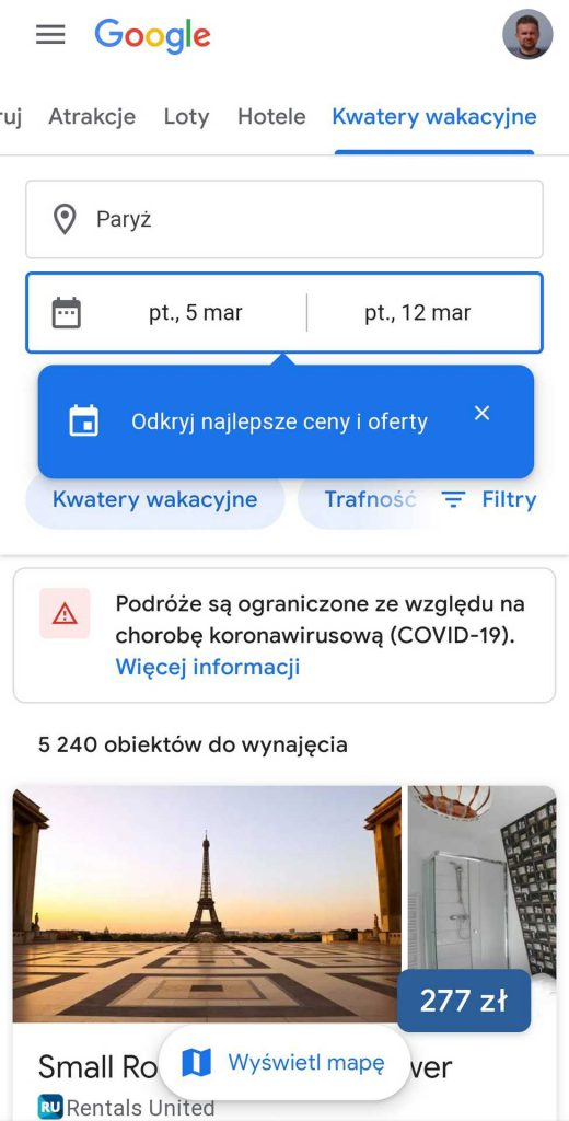 aplikacje dla podróżników - loty google